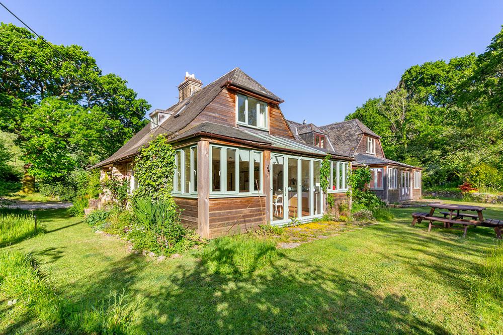 Bala Brook House Glazed French Doors Opening onto Garden